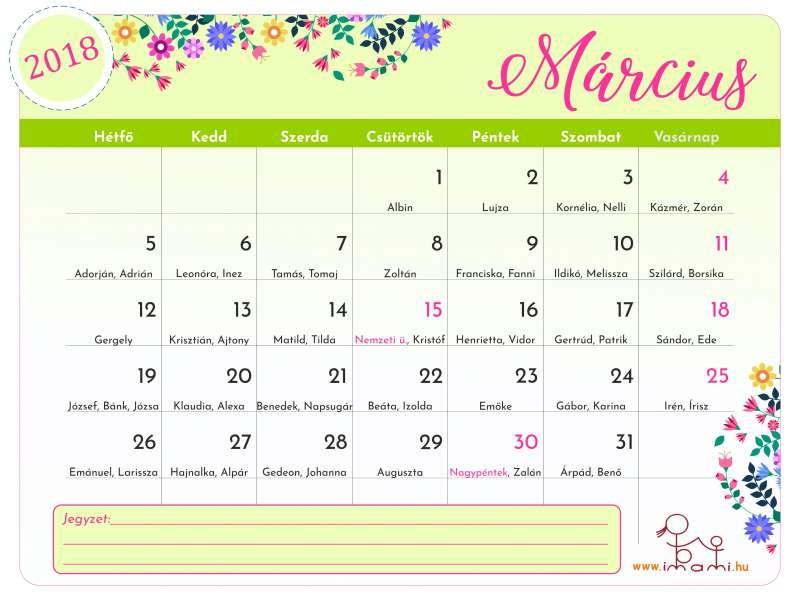 2018. március havi Imami naptár   szeged.imami.hu